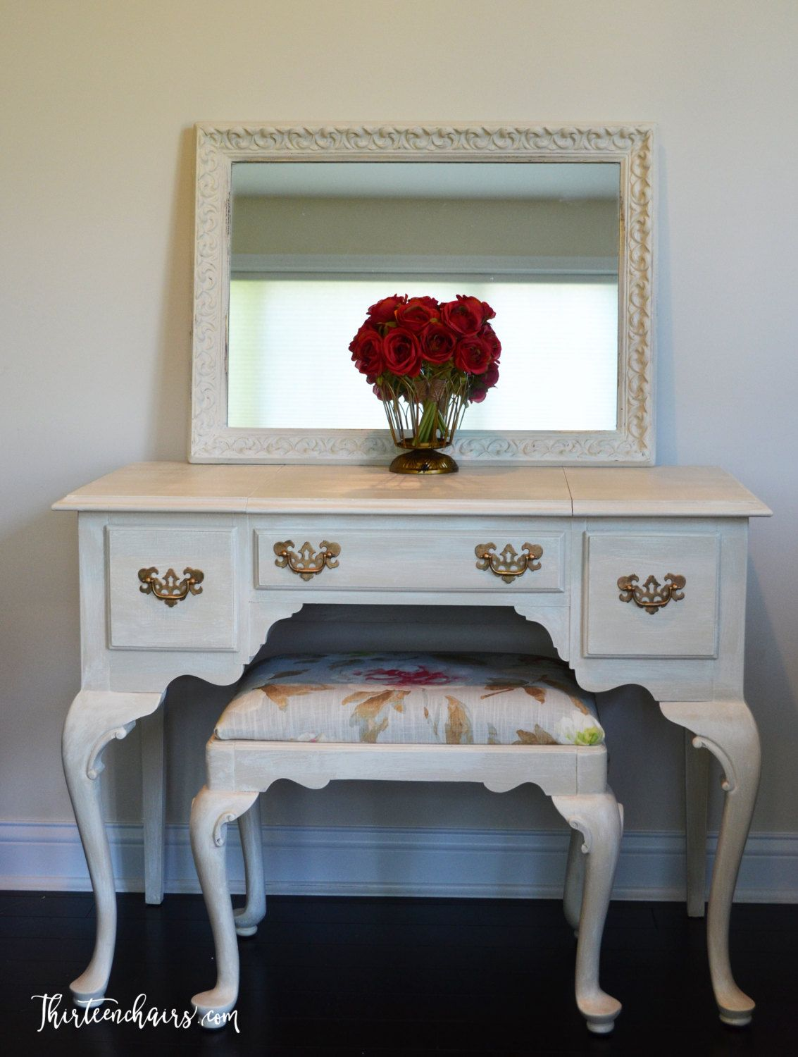 Website Picture Gallery Shabby Chic Ethan Allen Dressing Table Vanity painted with Annie Sloan Old Ochre and Dry