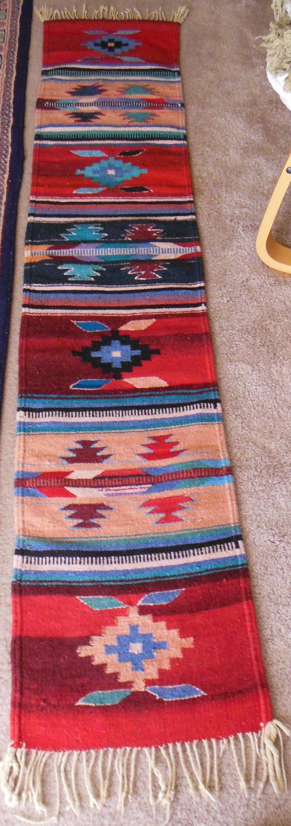 Southwestern Runner Mexican Western Indian Style Handmade Wool Carpet Colorful Extra Long Geometric Patterns Cow Decor