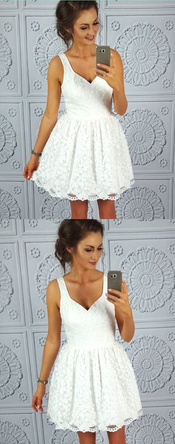 Simple lace short homecoming dresses white straps short prom