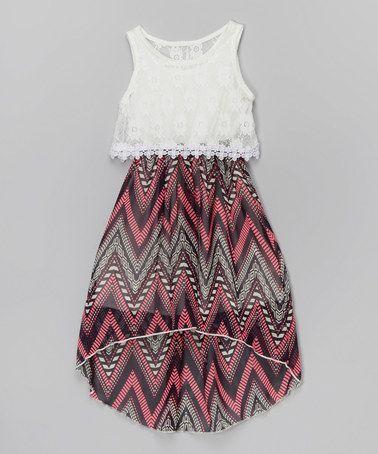 Look at this #zulilyfind! Pink & White Lace-Top Hi-Low Dress - Girls by Just Kids #zulilyfinds