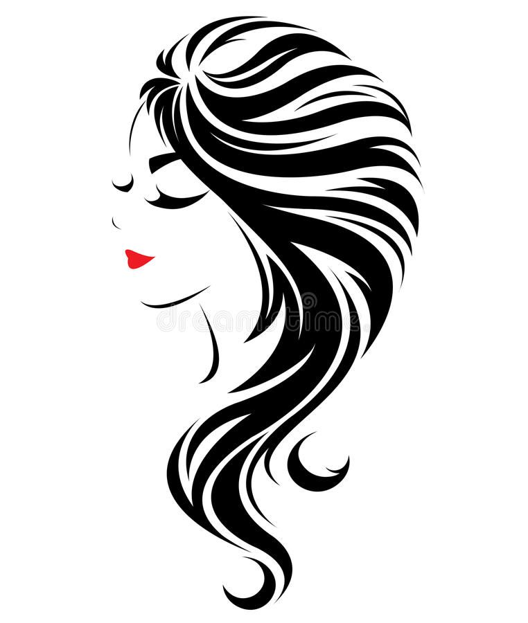 Women Long Hair Style Icon Logo Women Face On White Background Illustration Of Sponsored Affiliate Paid In 2020 Long Hair Styles Woman Face Beauty Art Drawings