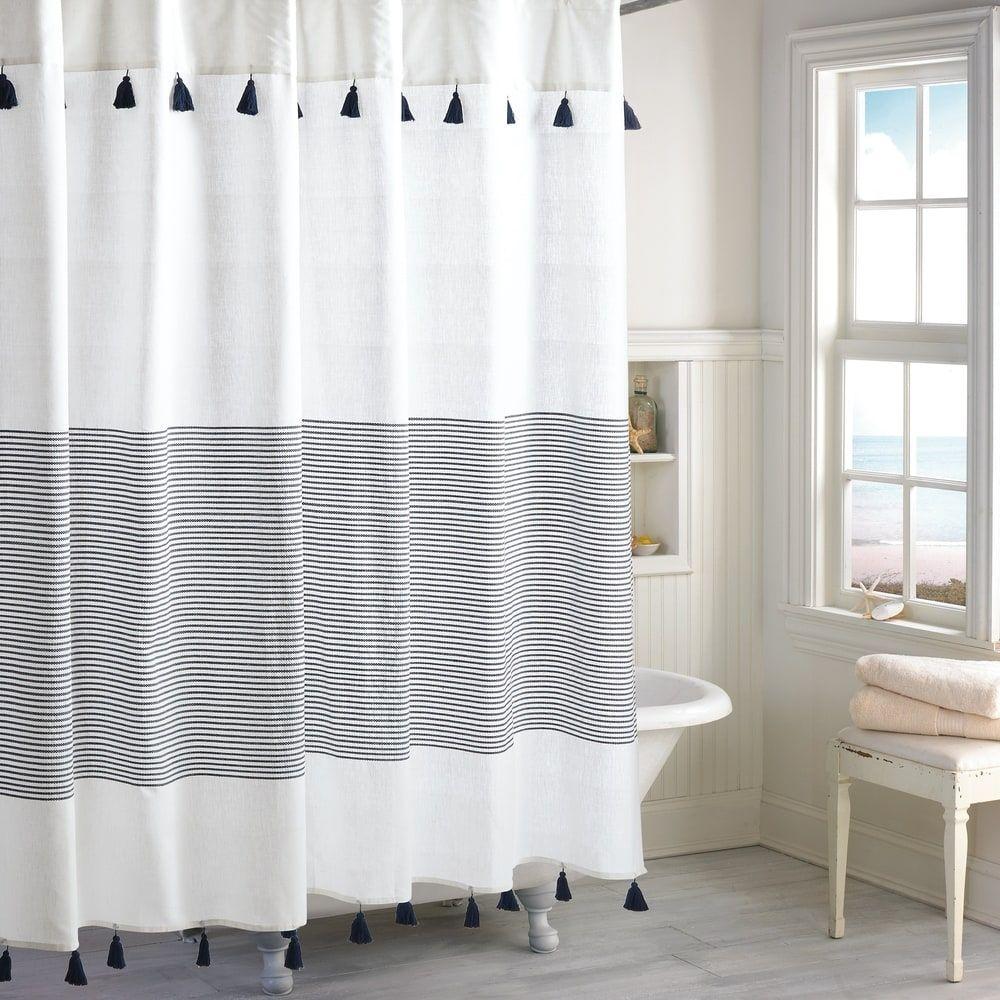 Porch Den Onassis Modern Stripe Tassel Shower Curtain Navy
