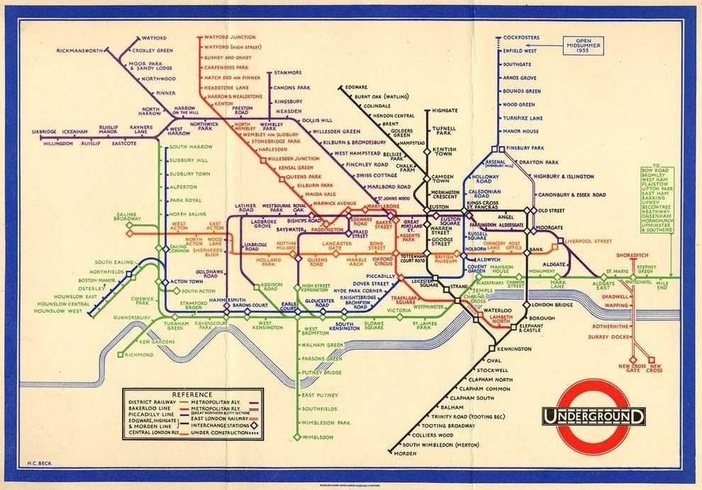 1933 tube map amazing how little has been added since then