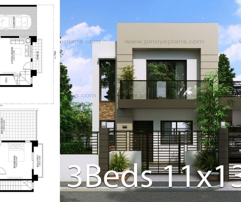 House Design 11x13m With 3 Bedrooms Home Design Plan House Design House