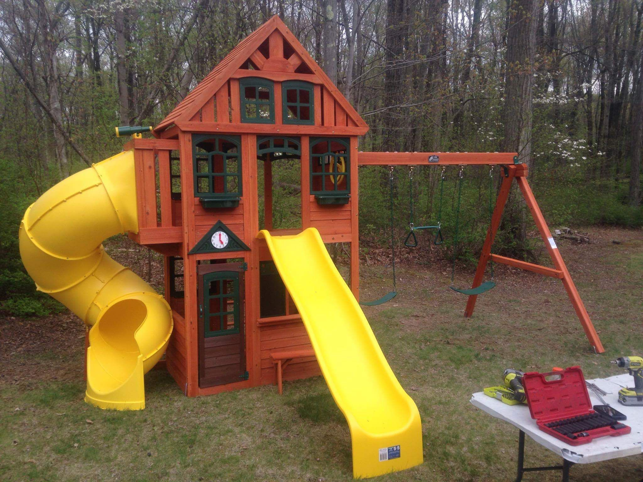 4 27 Twin Mountain Cedar Summit Play set Assembled in Basking Ridge