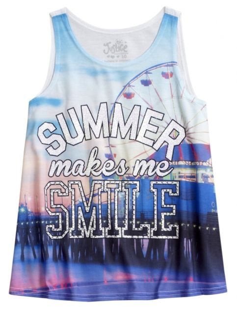Graphic High Neck Tank Justice Justice Clothing Shop Justice Girls Activewear