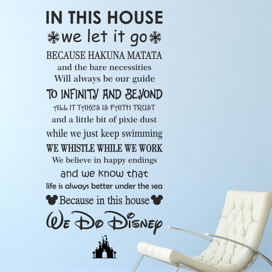 We Do Disney House Rules Vinyl Wall Art Sticker Quote Kids Family