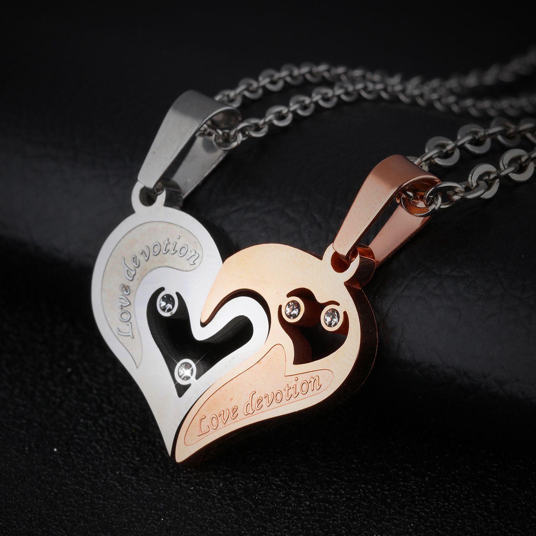 love heart pendants design couple necklaces rose gold