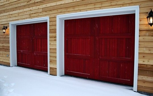 Red Garage Doors And A Pine Wall Wooden Windows Red Garage Door