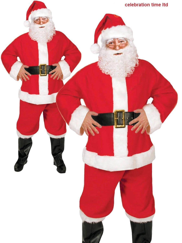 Mens Adult Santa Claus Budget Suit Costume Father Christmas Fancy Dress Outfit