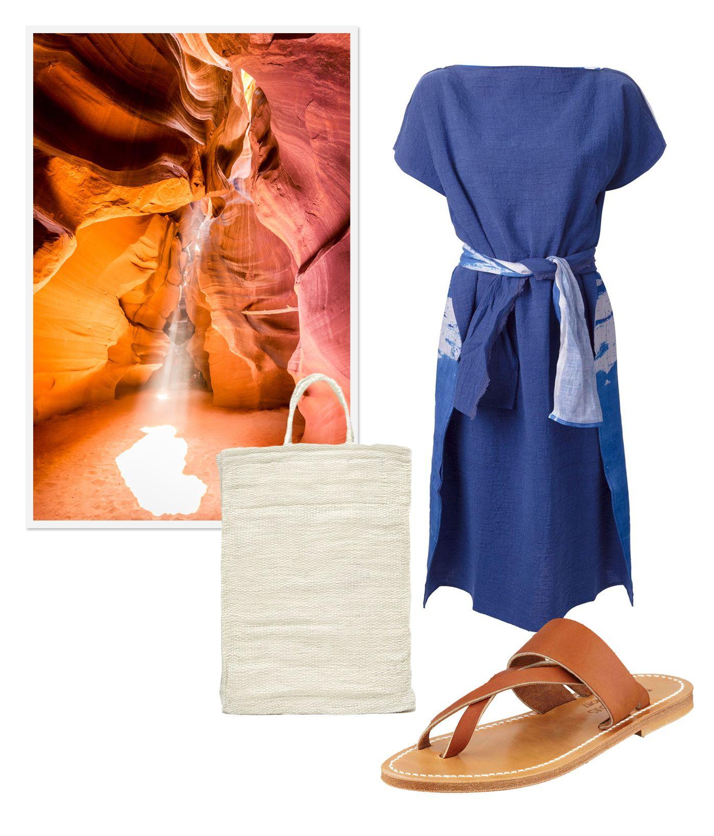 Memorial Day Destinations.Daniela Gregis #dress Faustine Steinmetz #bag K.Jacques #sandals