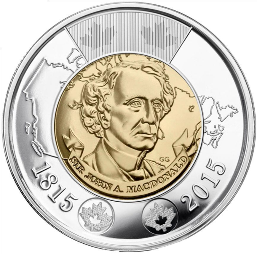 2015 2 Sir John A Macdonald Canadian Toonie Two Dollar