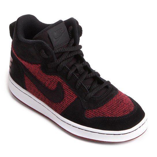 Tênis Infantil Couro Cano Alto Nike Court Borough Mid Se Masculino -  Preto+Vermelho fbadb25248ced