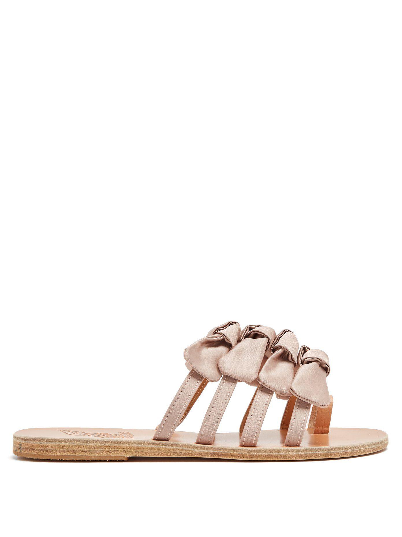 Ancient Greek Sandalswhite and black hara satin and leather sandals Meilleure Vente À Vendre Expédition Bas Pas Cher nymn7XTqt