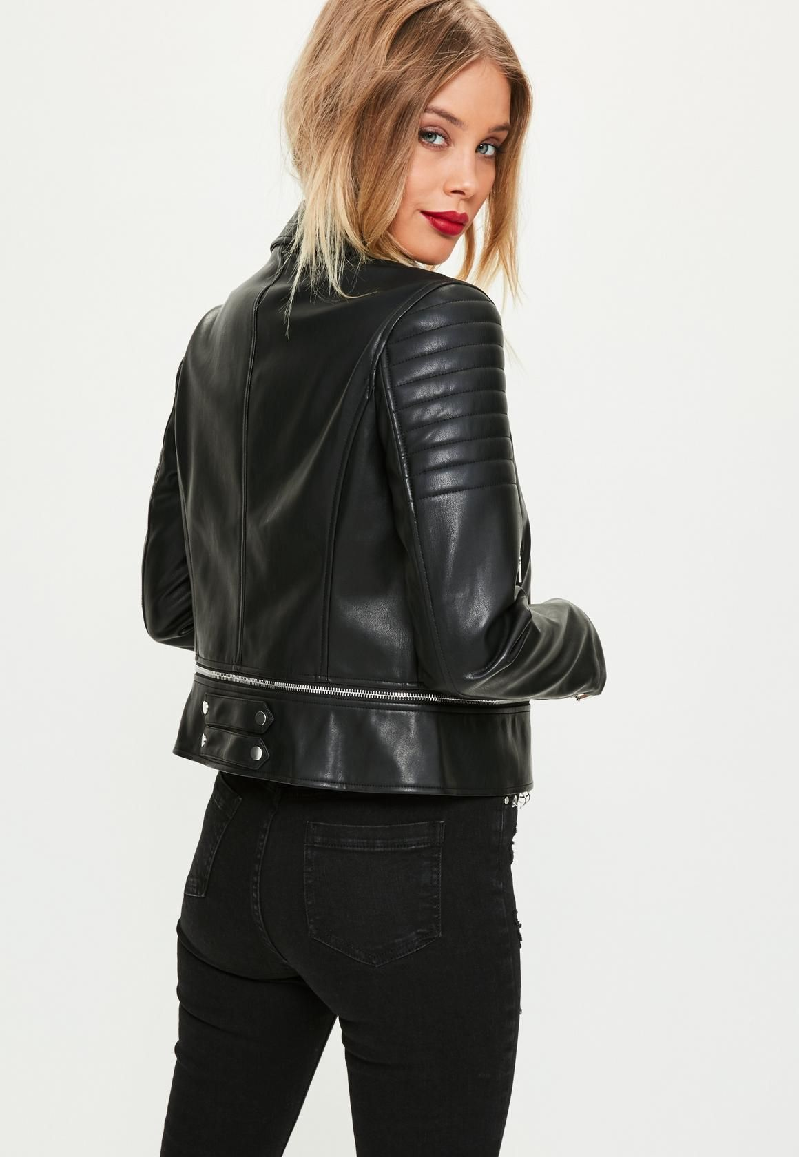 Black Faux Leather Cropped Biker Jacket - Missguided