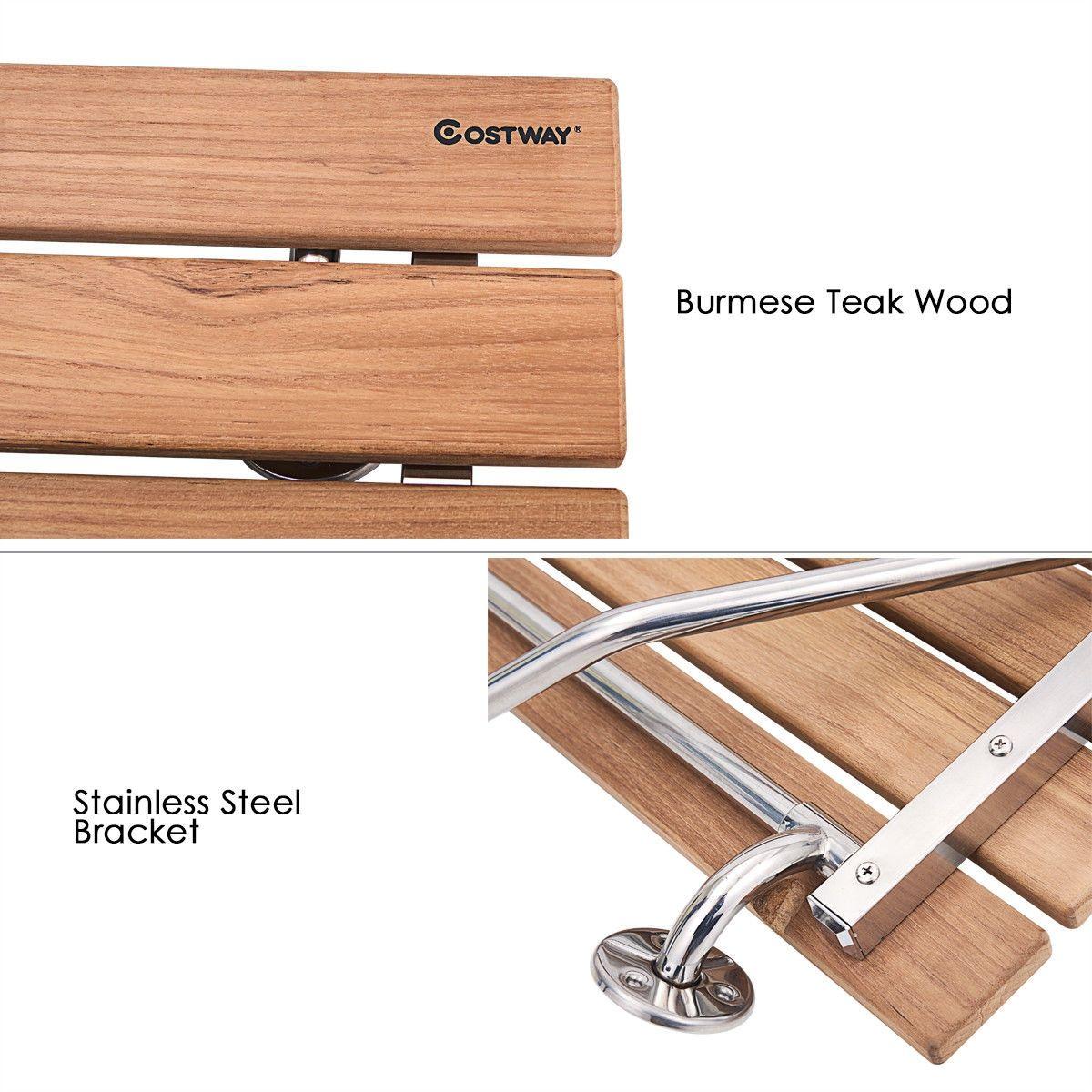 35 5 Wall Mounted Teak Wooden Folding Shower Seat Bathroom Stool In 2020 Shower Seat Bathroom Stool Wood Shower Bench