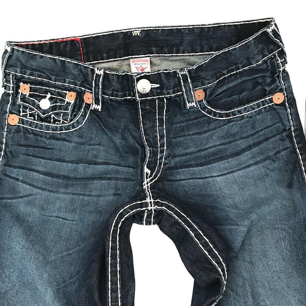 73b387c162a Mens True Religion Billy Super T Dark Wash White Stitching Boot Cut 36x34  Buddha