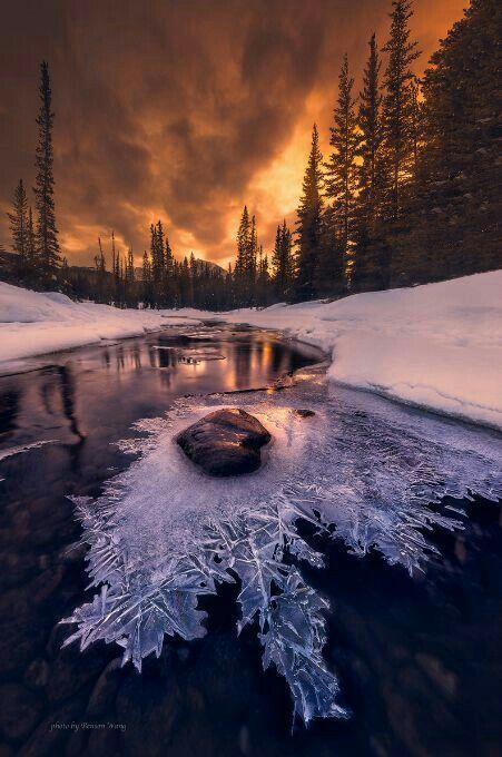 Frozen Creek | Winter | Зима, Осенний пейзаж, Зимний закат