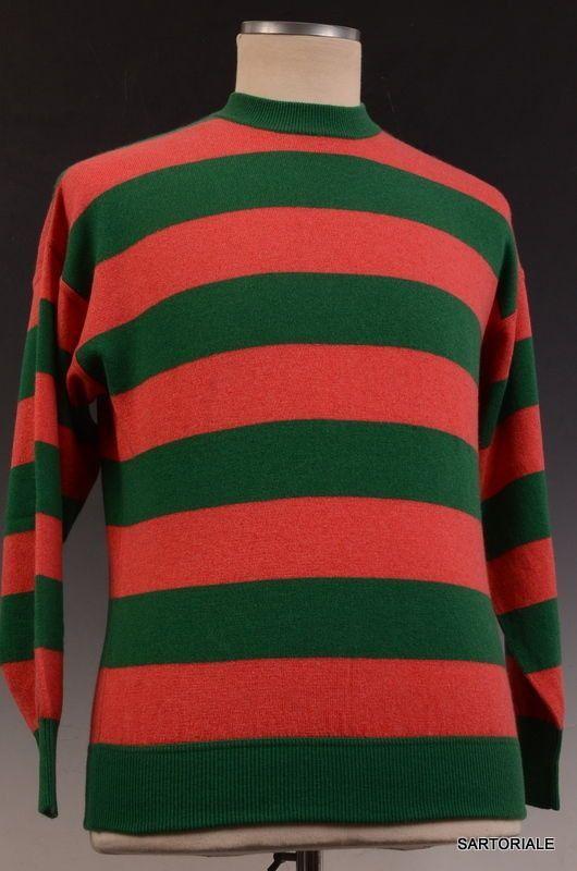 RUBINACCI Napoli Green - Red Striped Cashmere Crewneck Sweater NEW