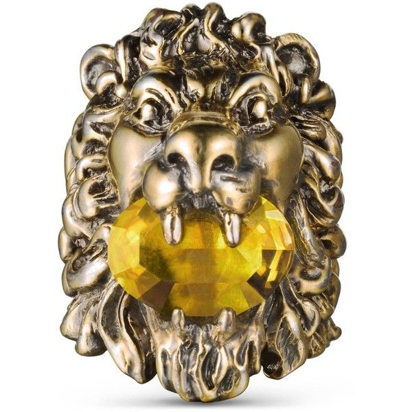d0b63f61d Gucci Lion Head Ring With Crystal ($430) ❤ liked on Polyvore featuring  men's fashion, men's jewelry, men's rings, yellow jewelry, gucci, swarovski  crystal ...