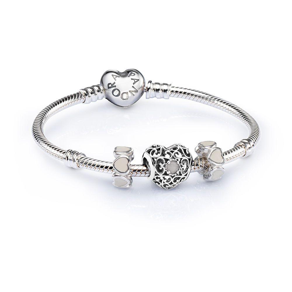 9a6d9c35b SALE - June Signature Heart Birthstone Charm Bracelet Set | PANDO ...