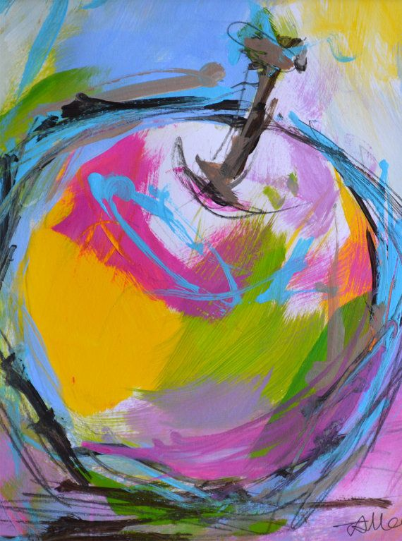 apple painting original still life colorful fruit by
