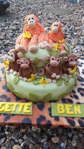 Other Baking Accessories Spirited Monkey Jungle Safari Edible Round Cake Topper Decoration Kitchen, Dining & Bar