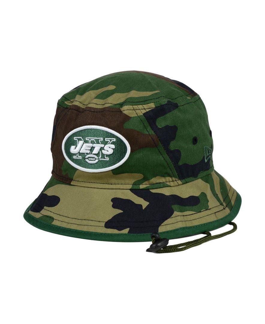 New Era New York Jets Camo Pop Bucket Hat  e5e2785e8bb