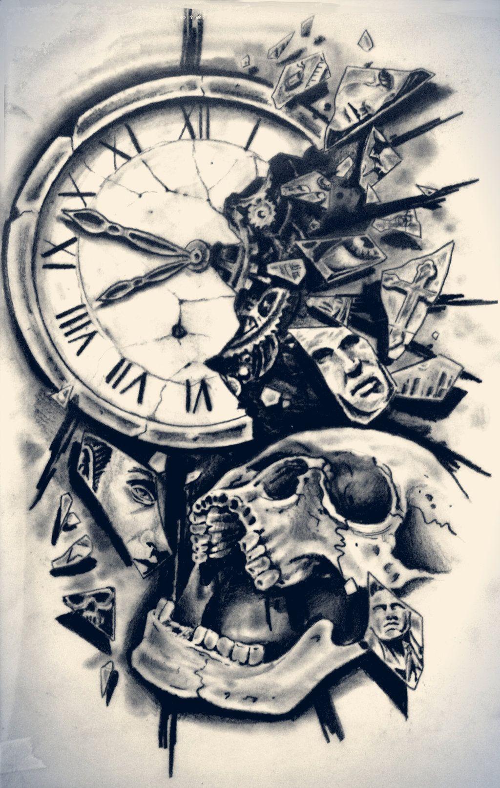 Time By Karlinoboy On Deviantart Clock Tattoo Clock Tattoo Design Tattoo Designs