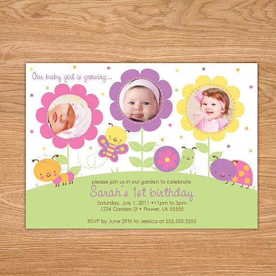 Butterfly First Birthday Invitation Girl 1st Birthday Invitation – Custom 1st Birthday Invitations