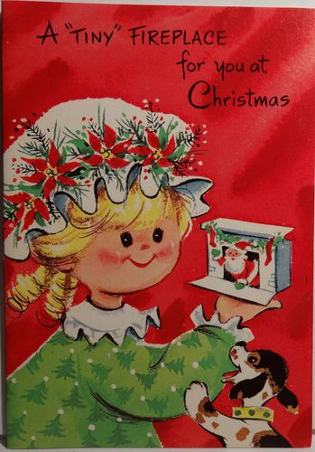Unused 50s Fireplace Cut Out Game Vintage Christmas Card 1105 eBay