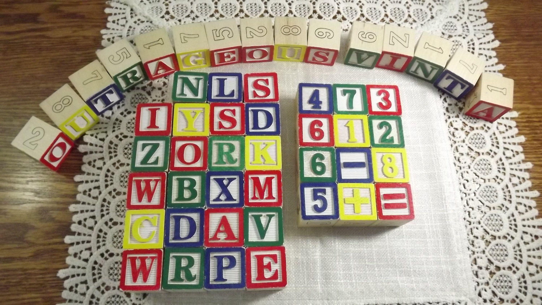 Alphabet Learning Toys : Vintage alphabet blocks abc and wooden blocks