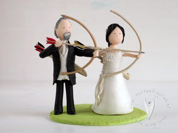 Pfeil Bogen Brautpaar Für Die Hochzeitstorte
