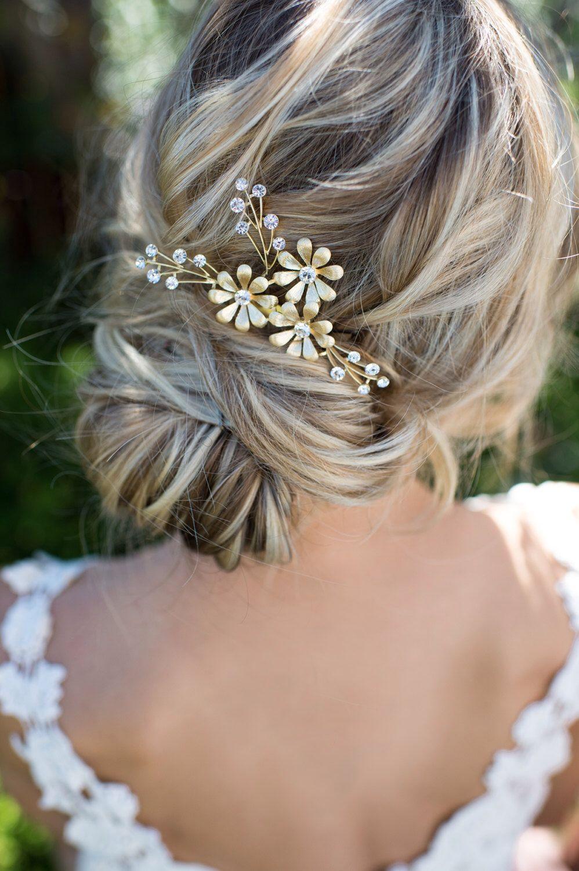 gold leaf laurel hair comb, boho bridal hair comb, vintage