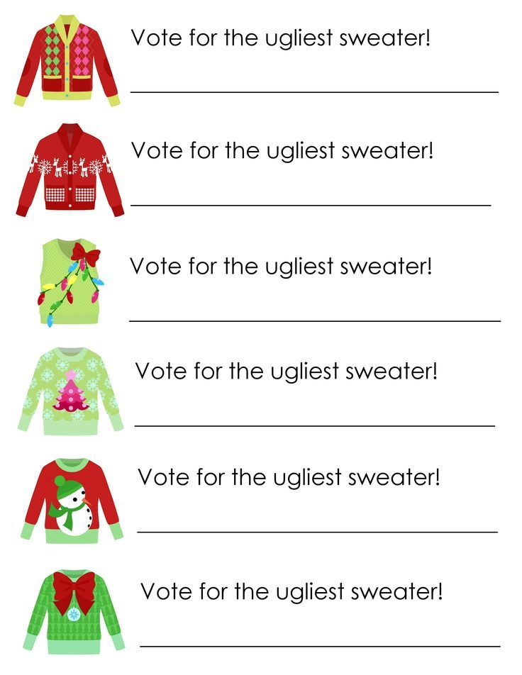 Ugly Sweater Party Free Printables