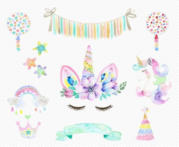 Watercolor Unicorn Clipart Unicorn Printable Baby Shower Kids