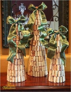 Diy Wine Cork Christmas Tree Topped With Ribbon The Bubbly