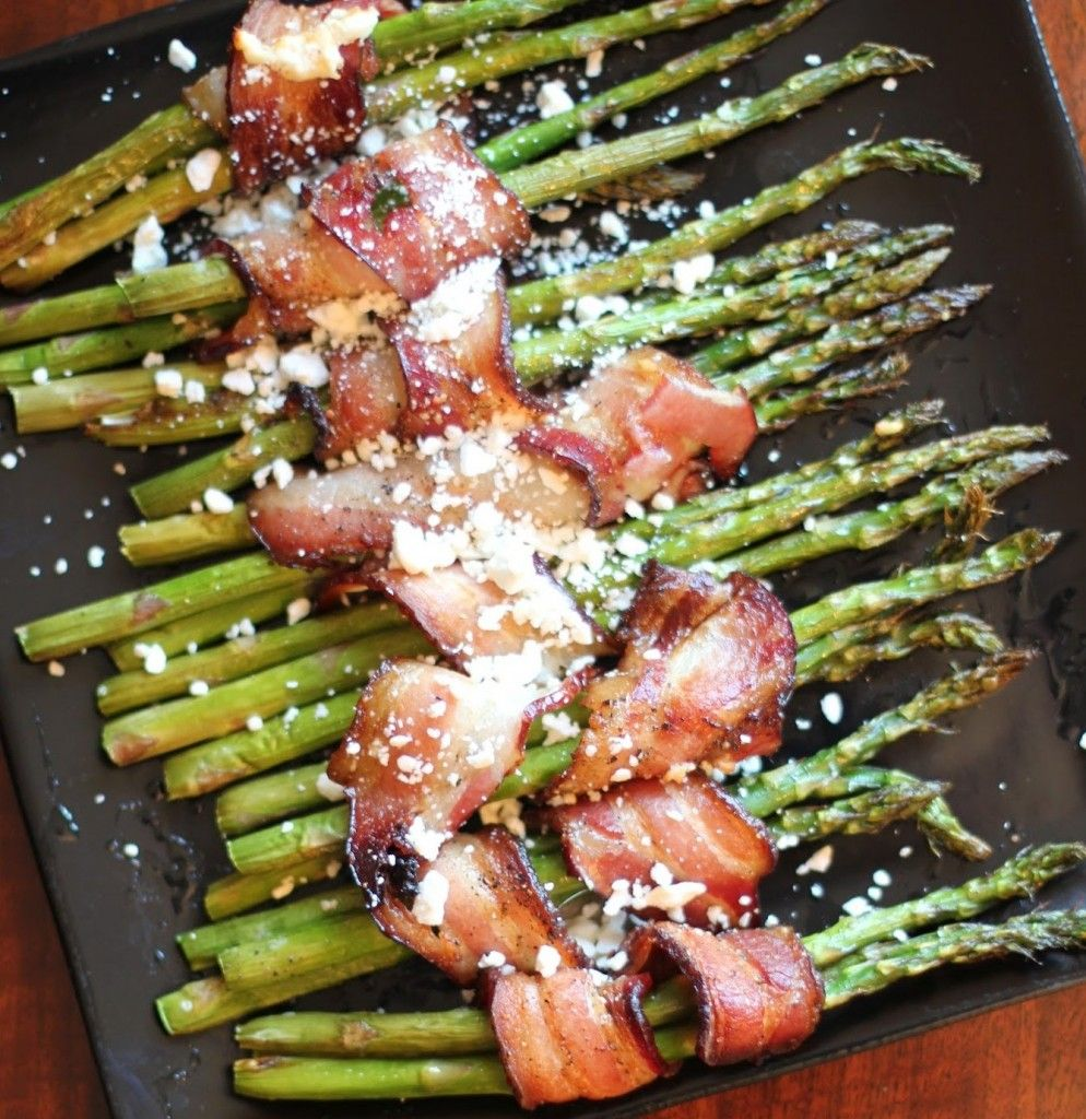 Bacon-Wrapped Asparagus with Feta  (This is good with proscuitto as well!)