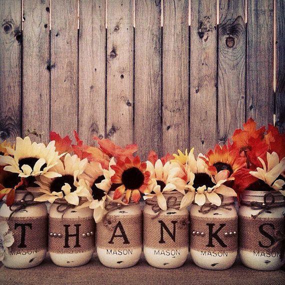 Thanks Mason Jars, Thankful Decor, Painted Mason Jars, Rustic Fall Decor, Fall Wedding, Thanksgiving Table, Fall Mantle, Farmhouse Fall #thanksgivingdecorations