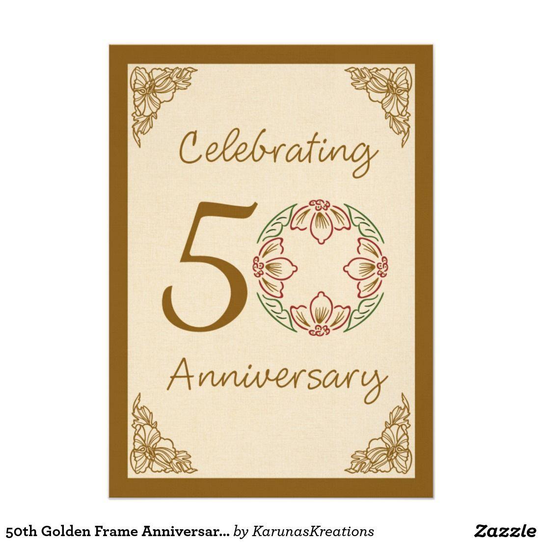 50th golden frame anniversary invitation celebrations cards 50th golden frame anniversary invitation stopboris Gallery
