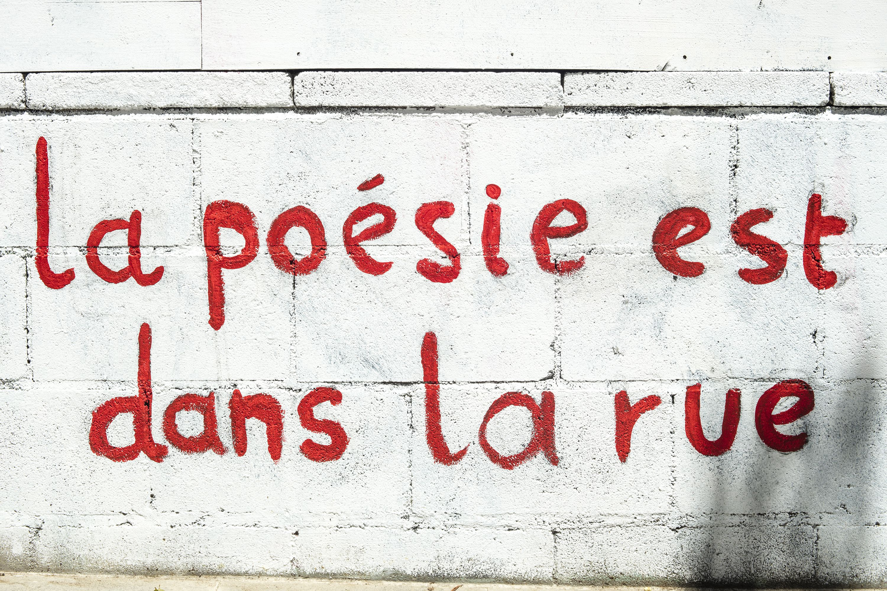 French Sentence Written On A Wall La Poesie Est Dans La Rue Meaning Poetry Is On The Streets In Barcelona French Sentences Sentence Writing Wall Collage