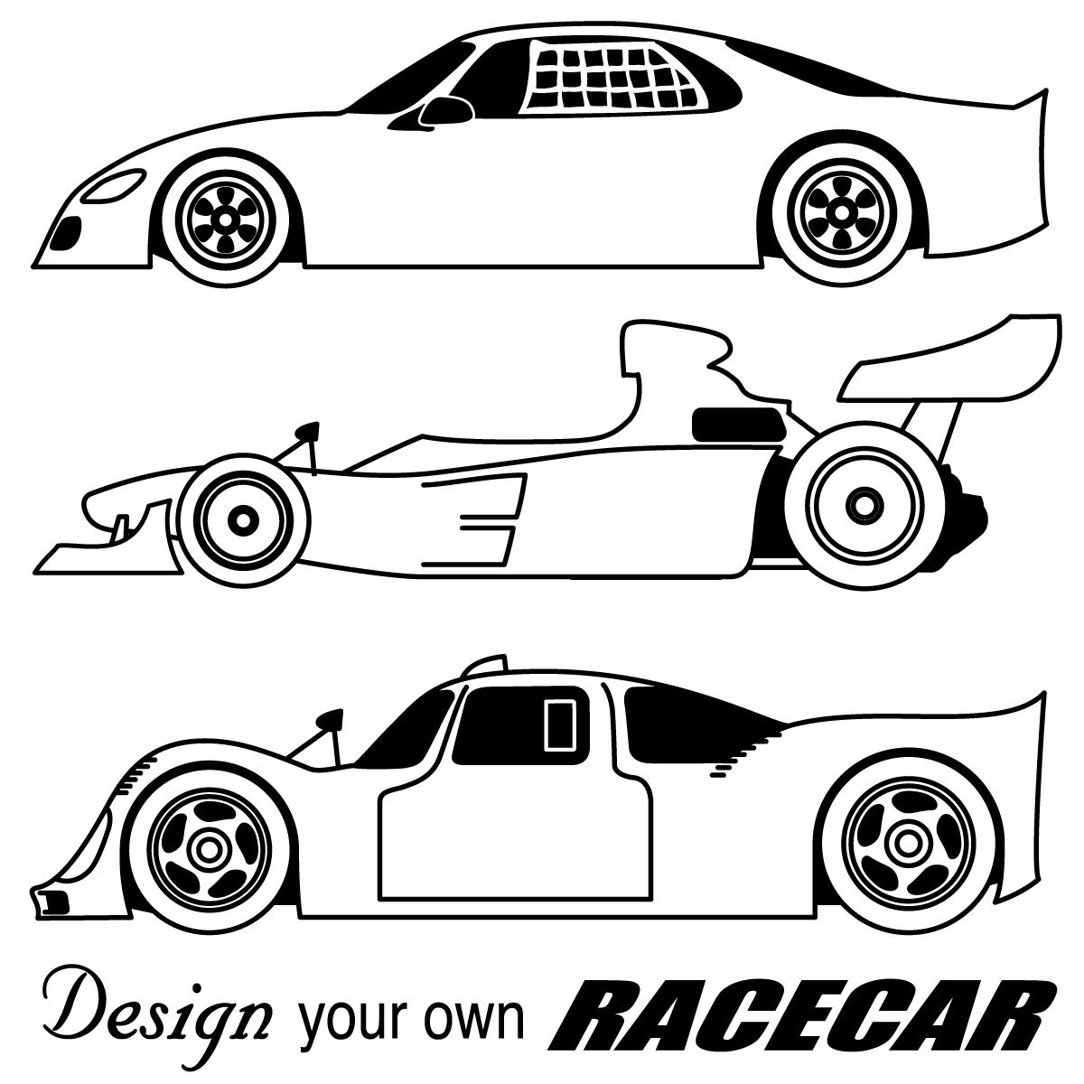 Race cars coloring pages free large images coloring for Make your own coloring pages for free