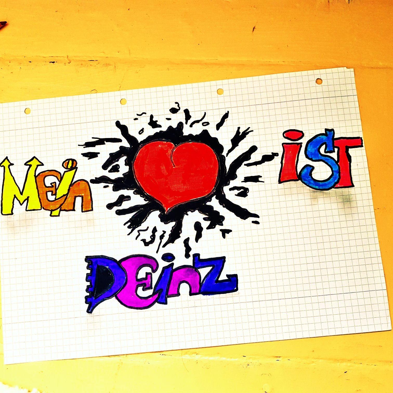 Meine Zeichnung eines Herz mit Schrift