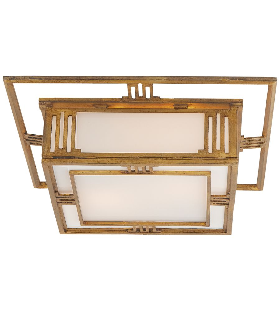 Visual Comfort TOB 4220GI Thomas O'Brien Traditional Enrique Flush Mount in Gilded Iron with White Glass