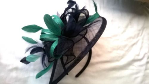 Navy Blue Fascinator with Jade green Trim   feathers ..Sinamay and Feather  Teardrop style with swirls  a8c7db35376