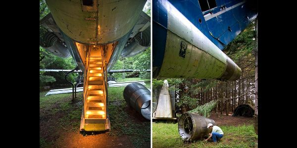 This Guy Lives In The Middle Of The Woods In A Boeing 727 Recycled House Boeing 727 House In The Woods