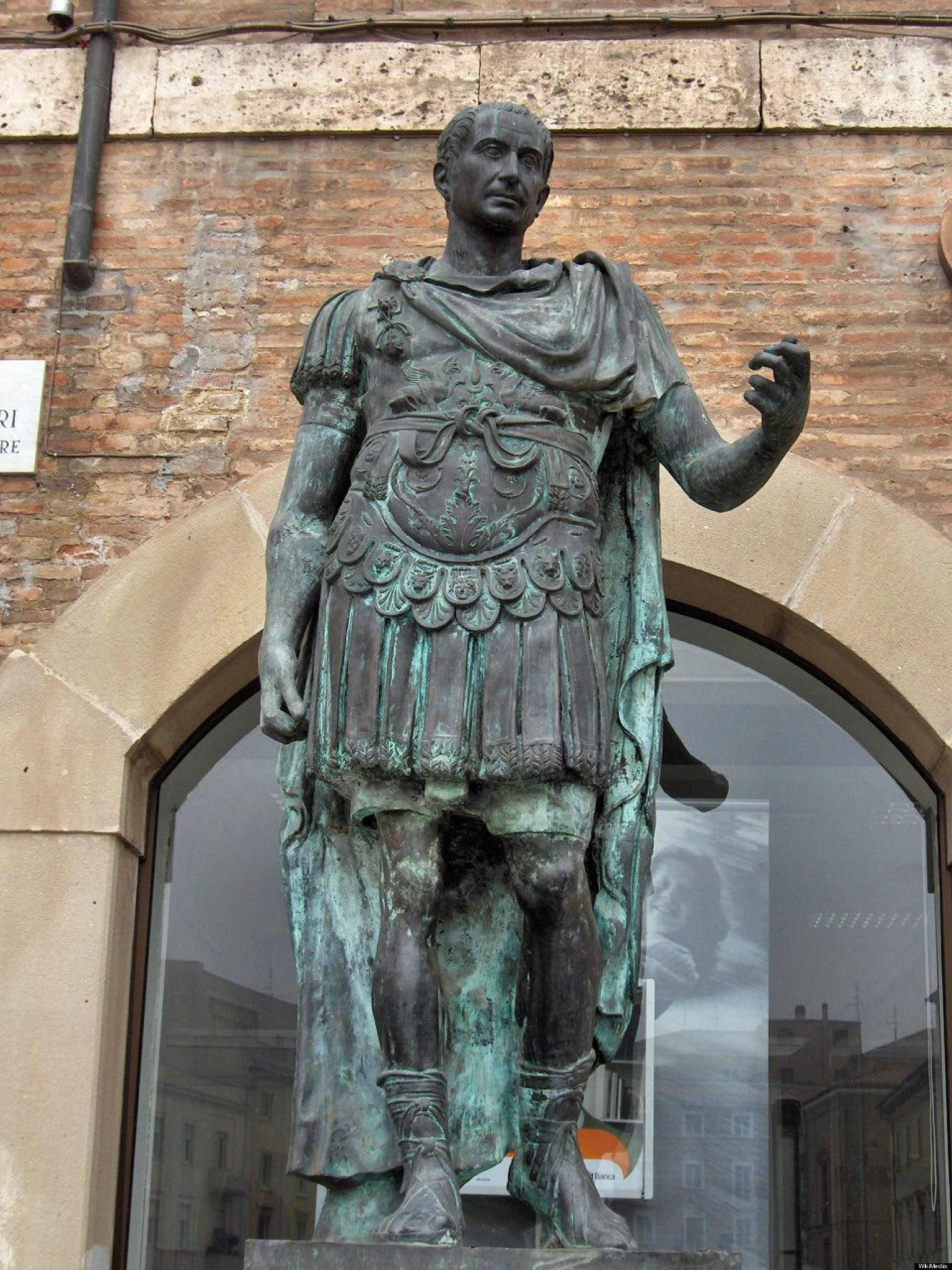 Julius Caesar. This modern statue can be seen in Rimini, Italy.
