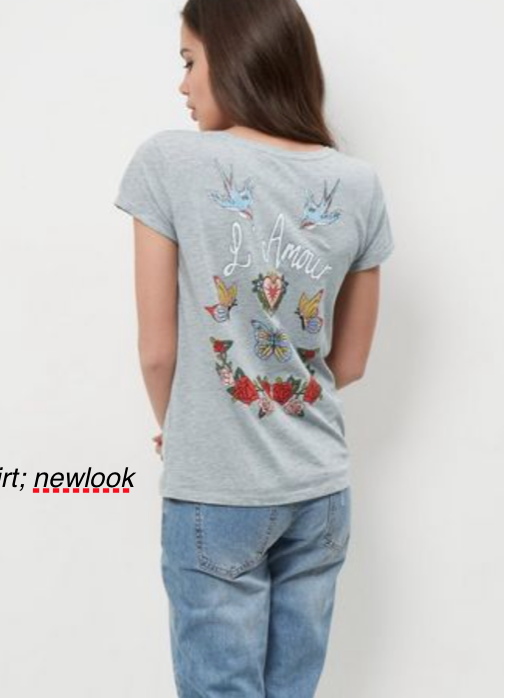 grey bird pattern t-shirt; newlook