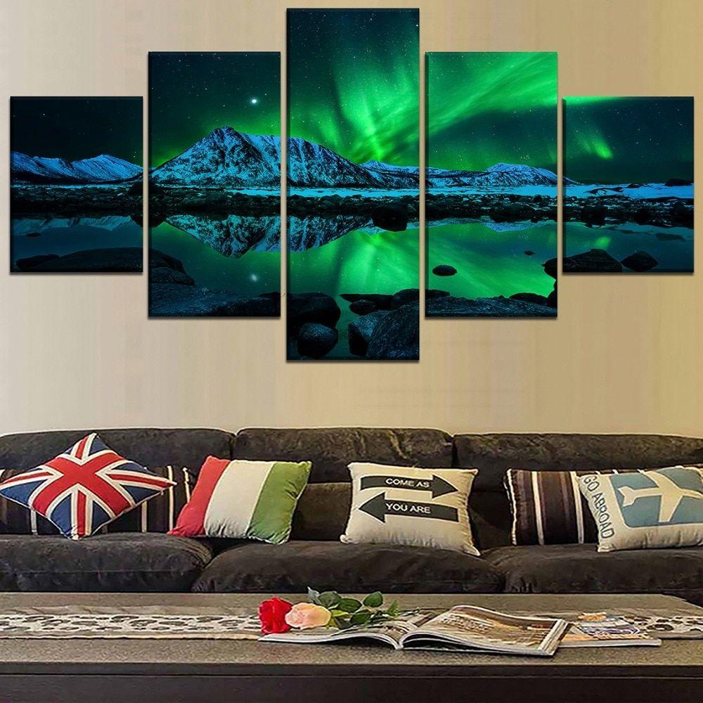 5 Panel Canvas Aurora Borealis Painting Langscape Wall Art Lake