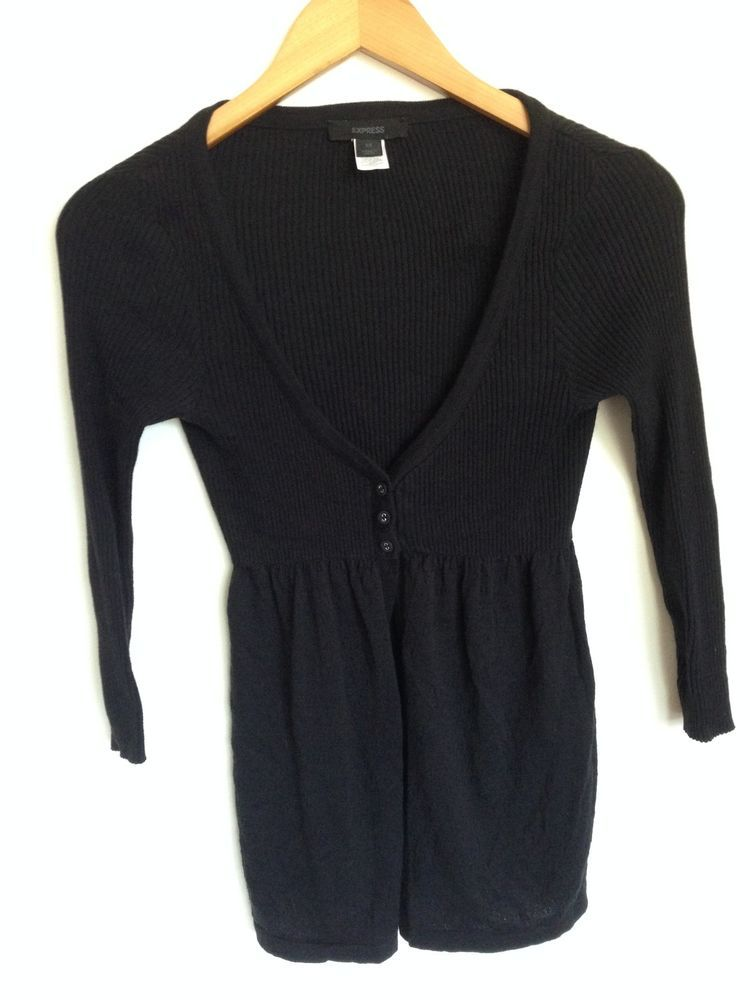 Express Sweater Cardigan Black Button 3/4 Sleeve Empire Waist ...